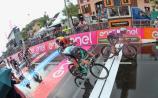 Sam Bennett crossing the line on stage 17 of the Giro d'Italia