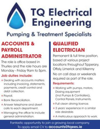 TQ Electrical Thurles are hiring now!