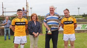 Michael Ryan C, Chairman of the West Board presented the O'Farrell Cup to Kickhams joint Captains, Kieran Breen and Davy Butler in the presence of Catherine Hogan from the sponsors Tipperary Credit Un