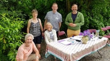 Some of the visitors to Moyaliffe House enjoying the sunshine and the surrounds last weekend.