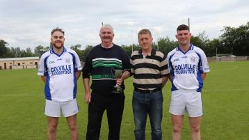 Michael Ryan C, Chairman of the West Board presented the west Junior B football  O'Connor Cup to Rosegreen  joint captains James Walsh and Tony Kerwick in the presence of Shane Hennessy (Sponsor