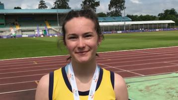 Tipperary Town athlete on the podium at All-Ireland athletics meeting