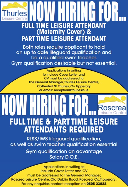 Job Vacancies Thurles Leisure Centre And Roscrea Leisure