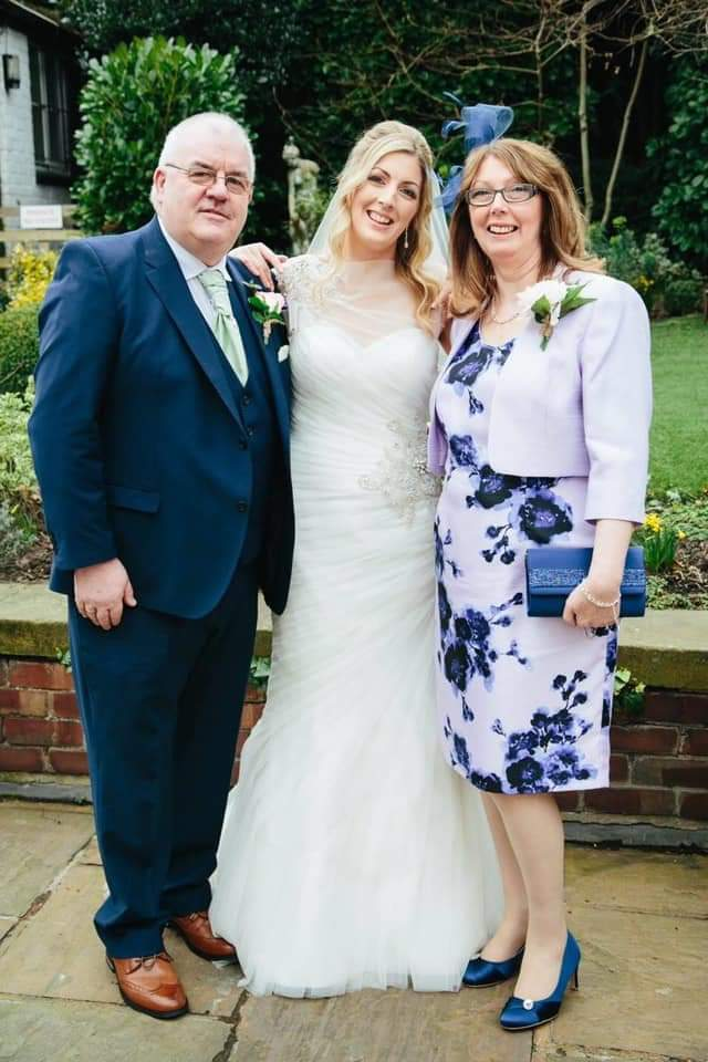 Fran O'Dwyer with his daughter Mary and partner Alison on the occasion of Mary's wedding