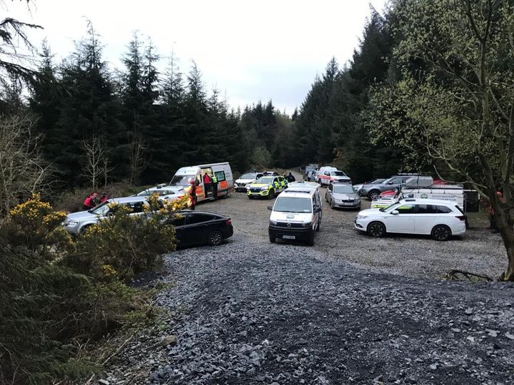Search and rescue vehicles involved in the search operation parked at Kilclooney Wood near Coumshingaun. Picture courtesy SEMRA